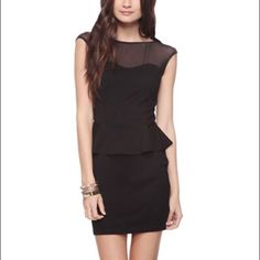 Nwt Black Fitted Dress With Mesh Top!