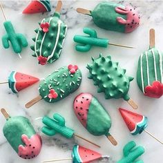 watermelon and cactus ~ kawaii cake pops and candles by Raymond Tan. ~ http://www.goodfood.com.au/good-food/cook/too-cute-to-eat-kawaii-baking-trend-and-recipes-20160509-goex5p.html