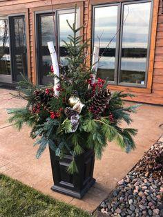 Christmas Urns, Outdoor Christmas, Christmas Wreaths, Birch Trees, Xmas Decorations, Pots, Holiday Decor, Home Decor, Decoration Home