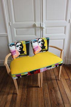 fauteuil banquette double bridge tissu pop