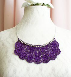 lace necklace CAMELIA purple by tinaevarenee on Etsy, $39.00