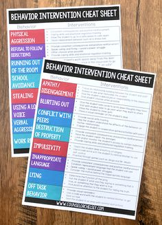 These behavior intervention cheat sheets are a great reference to use when your students are exhibiting challenging behaviors and you Coping Skills, Social Skills, Life Skills, Behavior Interventions, Behavior System, Behavior Analyst, Behavior Plans, Reward System, Counseling Activities
