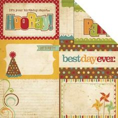 Memory Works - Simple Stories - Happy Day Collection - 12 x 12 Double Sided Paper - Journaling Card Elements 2 at Scrapbook.com $1.09