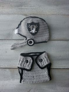 Oakland+Raiders+Inspired+Crochet+Helmet+and+by+foryouandmedesigns,+$40.00
