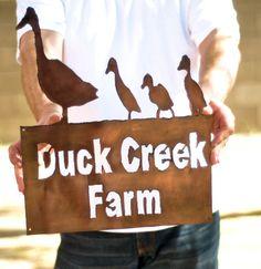 Custom Farm Sign // Ranch Sign // House Sign // Country // Ducks via Etsy
