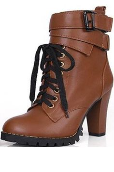 Brown Pu Lace Up Buckle Strap Chunky Booties 121d8263067