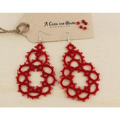 Orecchini rossi, red earrings, pendant earrings, regali per lei, lace... ($9.98) ❤ liked on Polyvore featuring jewelry, earrings, red earrings, earring pendants, pendant earrings, pendant jewelry and lace earrings