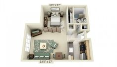 studio apartment interior layout