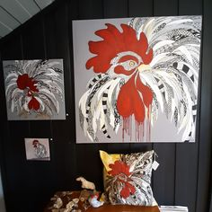 Roosters, painting, art,modern art,gallery, wall decor, picture,design cushion,  cockfight,contemporary, contemporary art,kunst,Scandinavian, Norwegian, design studio, home decor,  home design,red picture, bright, black wall,black ink, moder home, cozy, moder design Modern Art Paintings, Animal Paintings, Original Paintings, Ink Gallery, Gallery Wall, Red Pictures, Scandinavian Art, Decorating With Pictures, Black Walls