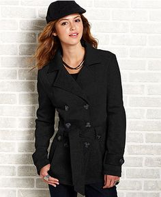 XOXO Juniors Coat, Belted Military - Juniors Coats - Macy's ...