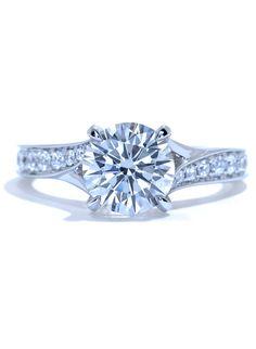 Trellis Engagement Ring. Tapered Split Diamond Band