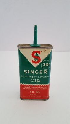 This is an all original Singer brand oil can in as found condition. There is no cap but I may be able to source a cap though it may not be green. Has no barcode and a price of 30 cents so its most likely from early Its about a quarter full. My Childhood Memories, Childhood Toys, Sweet Memories, Vintage Oil Cans, Vintage Tins, Vintage Buttons, Vintage Sewing, Vintage Toys 1960s, Vintage Patio