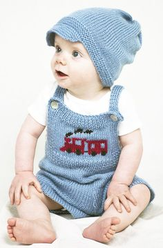 Free Knitting Pattern for Train Conductor Baby Overalls and Hat - Adorable train inspired baby set with train motif. Sizes 3 mo, 6 mo, 12 mo Designed by Susie Bonell forCascade Yarns