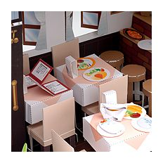 Doll House Western shop (entrance door kitchen counter table chair menu blackboard fried shrimp meal children lunch omelet) free material download   Paper Museum