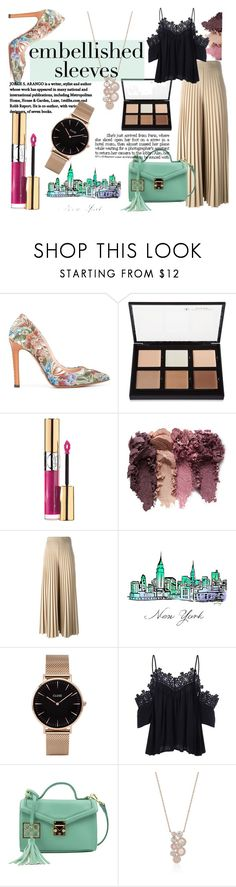 """Embellished sleeves"" by sandralalala ❤ liked on Polyvore featuring Ermanno Scervino, Anastasia Beverly Hills, Yves Saint Laurent, Givenchy, CLUSE and Handle"