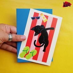 Funny Black Cat on Beach Towel Cards (set of 6), Funny Black Cat Greeting Cards & Summer Fun Note Cards, Funny Black Cat Art Card Set