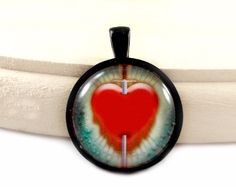 "LAST CALL - REDUCED - Red Heart, Green Background, Black Round Frame, Glass Tile Pendant, 1"" Pendant, Pre-made Pendant"