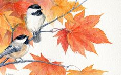 "Archival Print of original watercolor bird painting chickadees - 7"" x 10"". $22.00, via Etsy."