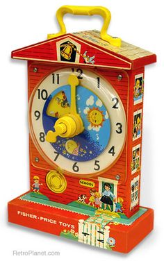 Fisher-Price Teaching Clock - this has been around a long long time.  Still selling for 19.99