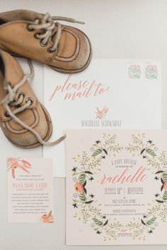 Beautifully styled vintage modern baby shower invitation suite.