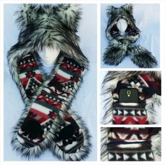 033cce927b2 Items similar to Tribal Husky Wolf Scoodie Spirit Hood Wolf Cosplay Rave Hat  Festival Hood