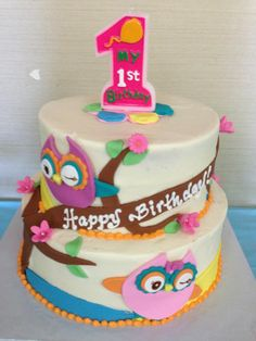 Owl birthday cake, Sugarnomics Cake Studio Guam