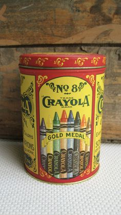 Image detail for -Vintage Crayola Crayons Gold Metal Tin Replica by corrnucopia Metal Box, Metal Tins, Vintage Tins, Retro Vintage, Tin Containers, Vintage Packaging, Vintage School, Tin Boxes, Old Toys