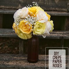Make easy crepe paper roses with DIY and template Monico Monico Monico (Saved By Love Creations) Lanier Crepe Paper Crafts, Crepe Paper Roses, Diy Paper, Faux Flowers, Diy Flowers, Fabric Flowers, Real Flowers, Crafts To Make, Fun Crafts