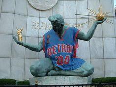 Spirit of Detroit Statue Wearing a Detroit Pistons Jersey, Detroit, MI