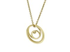 The solid gold Double Rose Curve on a fine gold chain. A Little Piece Of Sacred Geometry. All of life emerges out of timeless geometric codes. As Einstein said; ' The Most Incomprehensible Thing About The Universe Is That Is It Comprehensible'.