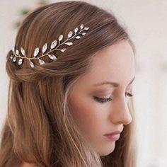 Hairstyles For Layered Hair, Wedding Hairstyles, Boho Headpiece, Bridal Headpieces, Hair Accessories For Women, Bridal Hair Accessories, Wedding Headband, Silver Rhinestone, Bridesmaid