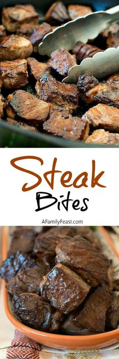 Steak Bites - Super delicious and easy to prepare (instead of pepper mustard) - our Steak Bites are a great weeknight meal that the entire family will love! Low Carb Recipes, Beef Recipes, Cooking Recipes, Skillet Recipes, Cooking Gadgets, Skillet Meals, Pizza Recipes, Grilling Recipes, Healthy Recipes