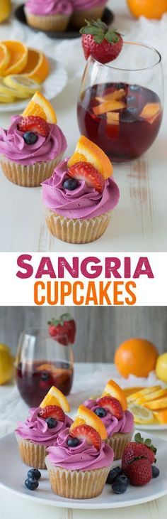 Cupcakes - made with fruit in the batter and a red wine buttercream, these are the perfect party cupcakes!Sangria Cupcakes - made with fruit in the batter and a red wine buttercream, these are the perfect party cupcakes! Just Desserts, Delicious Desserts, Dessert Recipes, Yummy Food, Summer Desserts, Summer Cupcake Recipes, Summer Cakes, Fruit Recipes, Cupcake Party