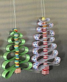 Christmas-Craft ideas-ribbon trees choose ribbon to suit your color scheme....if you double the ribbons, you can pull the ribbons to hang perpendicular to each other....