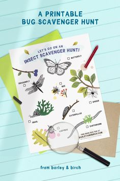 Our free printable bug scavenger hunt is a wonderful summer activity and nature learning opportunity for kids.   from barley & birch Educational Activities, Learning Activities, Kids Learning, Activities For Kids, Crafts For Kids, Fall Crafts, Outdoor Summer Activities, Bug Hunt, Alternative Education