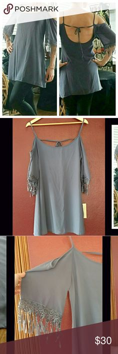 """Tobi Steel Blue Strappy Off the Shoulder Tunic In EUC!  Size is a small. 100% Polyester Plunging back. Lace accented sleeves.  Length approx 24.5"""" Bust approx 18"""" Tobi Dresses"""