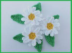 Crochet applique 3 crochet daisy appliques by MyfanwysAppliques