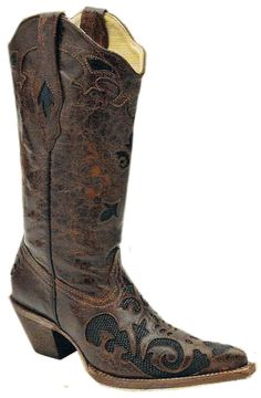 Corral Ladies Boots    *Black/Chocolate Lizard Overlay  *Handmade boots  *Item#: C2118    Size: 5-10, 11, 12  Width:  Medium and Wide    Price: $252.99  *Due to boots being handmade, in the event we are out  of stock, boots can take up to 12 weeks for an order to  be processed.