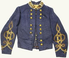 J.E.B. Stuart's Officer's Shell Jacket.  Buff collar, common for General rank. Buttons in groups of three indicate rank of Major General.