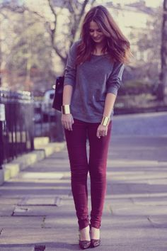 burgundy skinny jeans, grey long sleeve t-shirt, gold cuffs, casual outfit
