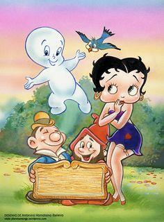 Capa para um vídeo de desenhos animados clássicos: Betty Boop, Gasparzinho e outros.