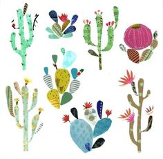 d4ff38ece4 Pope Twins - Liz And Kate - New Cactus Collage Plant Illustration