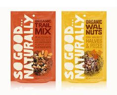 """The So Good… Naturally packaging by JJAAKK Design features large, quirky hand-drawn text. """"Design concepts for a line of organic nuts and trail mixes. Hand-drawn type, patterns and a natural color palette make this packaging feel right at home on your next hike."""""""