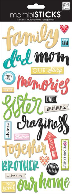 'Family' mambiSHEETS epoxy handwritten word stickers | me & my BIG ideas.jpg Printable Stickers, Mambi Stickers, Printable Planner, Planner Stickers, Scrapbook Templates, Scrapbook Stickers, Scrapbook Supplies, Scrapbook Paper, Journal Stickers