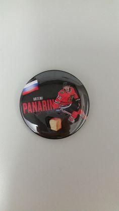 "Chicago Blackhawks Artemi Panarin #72 Mural Design Pinback Button or Magnet 2.25"""