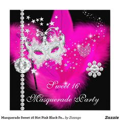 Shop Masquerade Sweet 16 Hot Pink Black Feather Mask Invitation created by Zizzago. Birthday Party Images, Sweet 16 Birthday, 16th Birthday, Happy Birthday, Masquerade Party Invitations, Birthday Party Invitations, Invites, Sweet 16 Masquerade, Masquerade Masks