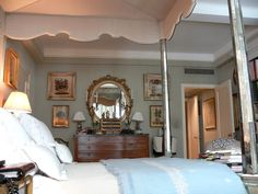 Bunny Williams ~ A view through the mirrored canopy bed in the master bedroom of Bunny's NYC home.