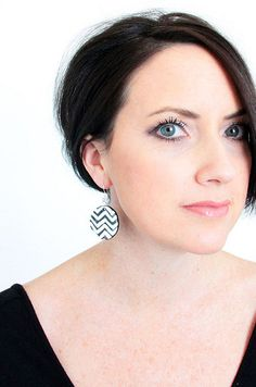 DIY chevron shrink plastic earrings