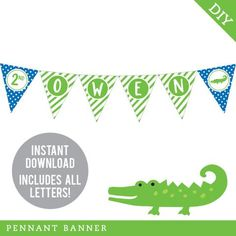 This DIY printable pennant banner will be the highlight of your party decorations! Each triangle... Alligator Birthday Parties, Alligator Party, Pennant Banners, Name Banners, Happy Birthday Name, 5th Birthday, Birthday Ideas, Triangle Print, Printable Banner