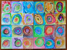 Kid's painting based on Kandinsky's Squares with Concentric Circles.